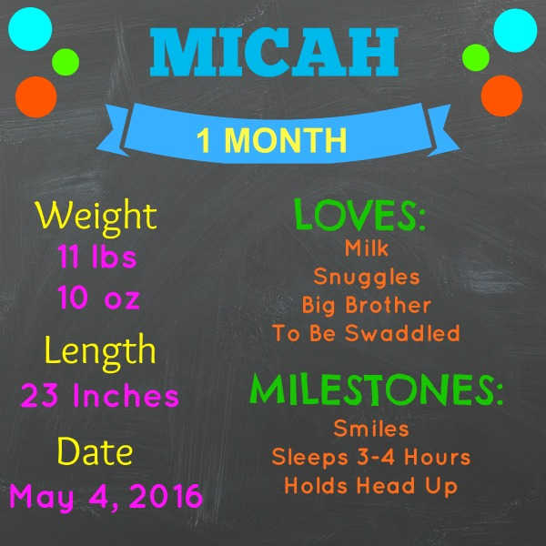 Micah 1 Month Stats